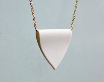 Porcelain Pendant Necklace - White Crest and Gold Chain Necklace - Simple Unglazed Ceramic Charm