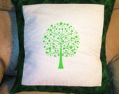 Pillow Cover - Quilted and Stencilled Stylized Tree in Green