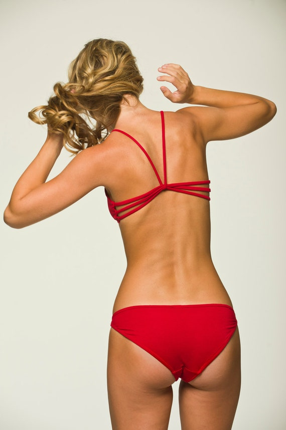 Red Sleepwear Lingerie - Strappy Sleep Bra Top- Discontinued Color- 30%off