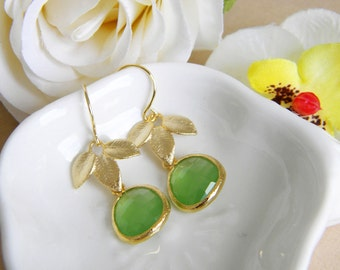 Spring green and gold leaf earrings - gifts for her, wedding, bridesmaids