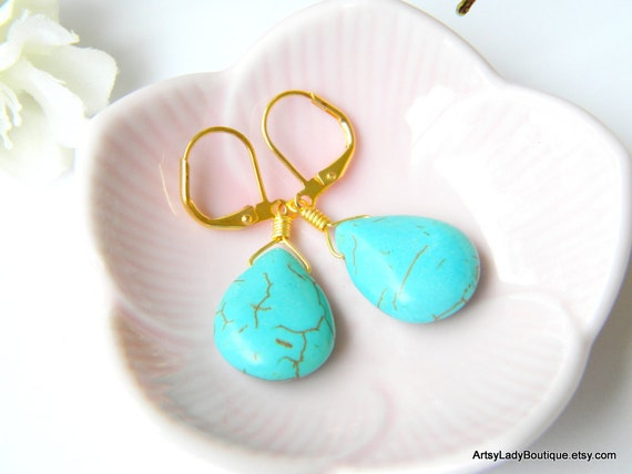 Turquoise Drop Earrings wire-wrapped in gold
