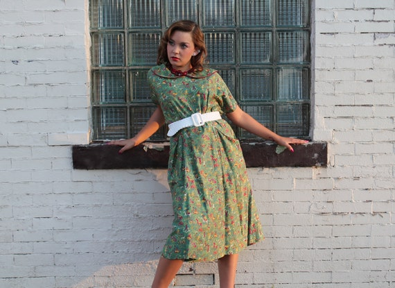 40s Novelty Dress Plus Size 3X Arabian Nights Magic Carpet Green Equestrian Swing 1940s Short Sleeve
