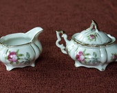 Rosey Footed Cream and Sugar Set