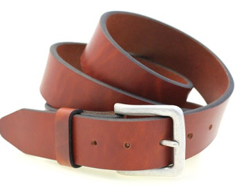 "1 1/2"" Men's Plain Light Brown Tan Show Harness Leather Belt Square Buckle With Antique Silver Finish Made In America"