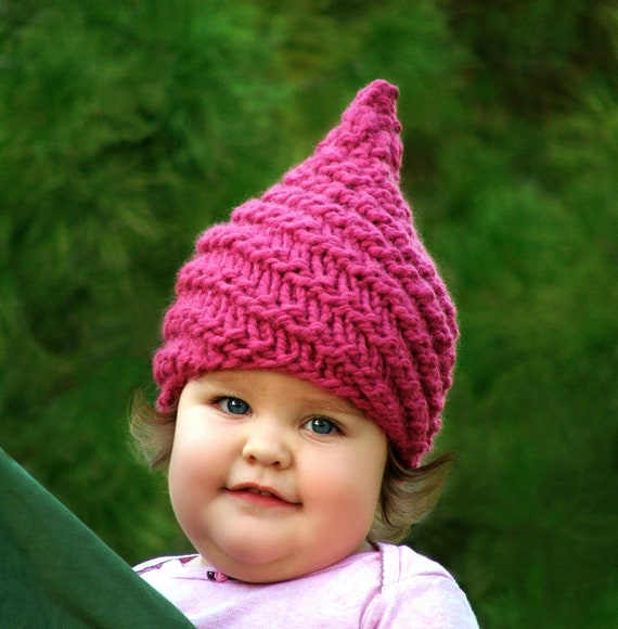 Baby Gnome Hat Knitting Pattern : Items similar to Knit Baby Gnome Hat Newborn Elf Hat Baby ...