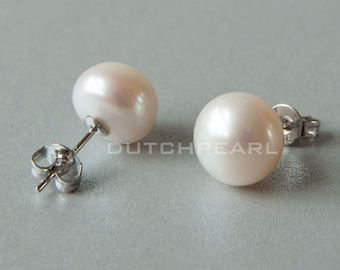 10 pairs - Big 10mm real pearl earrings studs - freshwater  genuine pearls white sterling silver personalized earring studs