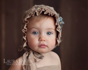 READY TO SHIP. Savannah. Hand Dyed Fabric Bonnet. Tan. Brown. Blue. Newborn. Baby Girl. Photo Prop. Vintage.Tolola Design.