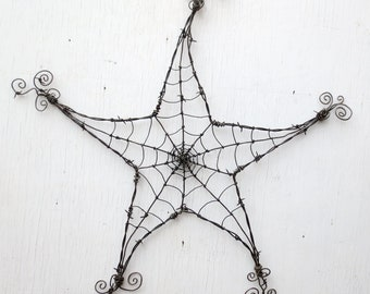 Barbed Wire Star  Spider Web Garden Decoration or Trellis