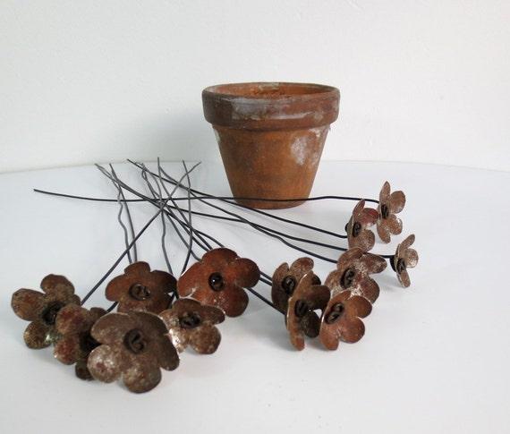 Rusty Metal Flowers Bloom Forever In Repurposed Rustic Bouquet
