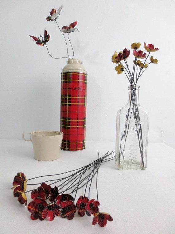 Tartan Bouquet of  Red Plaid  Metal Flowers