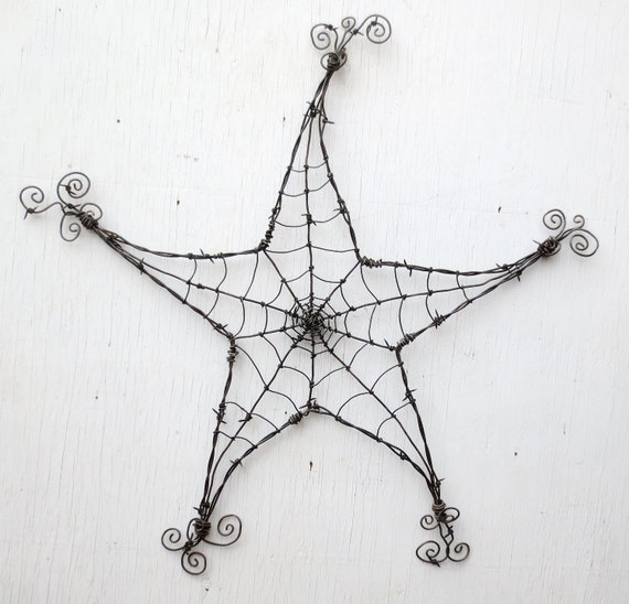 Barbed Wire Star  Spider Web Garden Decoration or Trellis