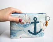Recycled Sailboat Fabric Anchor Changepurse with Keyring