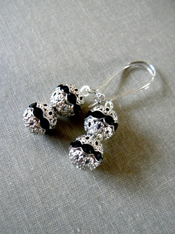 Holiday Earrings.  Black and Silver.