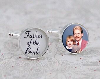 Father of the Bride Cufflinks, Custom Photo Cuff Links, Wedding Jewelry, Gift for Dad, Wedding Jewelry