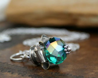 Bullet Necklace, Nickel Plated Brass Rosette, Blue Green Crystal, Fun, Feminine, Recycled