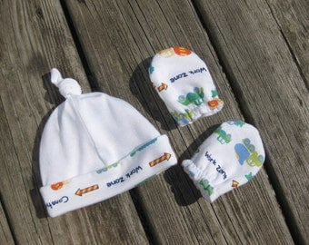 Newborn Hat and Mittens - White with Colorful Dump Trucks - Ready to Ship