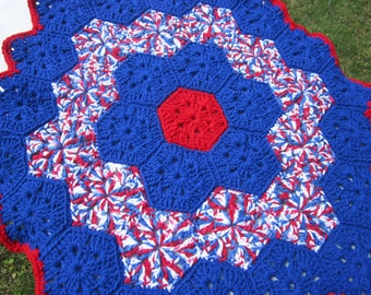Red White and Blue Table Cover, Patriotic Table Cloth, 4th of July Table Doily, American Heritage Decor ~ Large Round Table Doily, RWB Decor