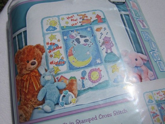 Embroidery Baby Quilt Stamped Cross Stitch Kit Destash