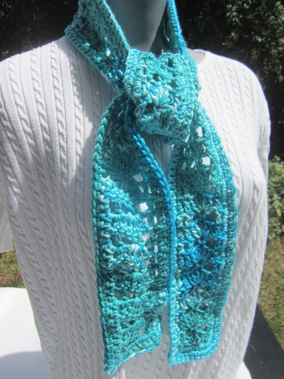 LAST CHANCE SALE Crochet Scarf Shades of Blue Scarf Fifty Shells and Lace Thin Neckwrap, Ocean Waves Scarf, Indoor or Outdoor Scarf