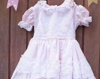 Vintage Toddler Pink Wedding Dress Toddler Flower Girl Dress Pink Lace Flower Girl Dress 4T Wedding Dress 4T Pink Summer Dress