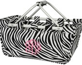 Personalized Collapsible Large Market Basket (ZEBRA)