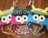 Custom Owl Hat with ear flaps-  Crochet Owl Hat, you choose color and size, multicolor