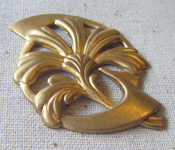 Solid Raw Brass Art Nouveau Lily Stamping (1) Patina, Vintage