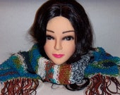 Knitted Scarf Blue Brown Tan with Fringes in Earth Tones, Spring Scarf, Womans Accessories, Camo Scarf