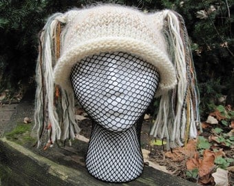Hand knit pigtail hat