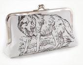 Grey clutch with wolf