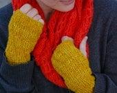 knit fingerless gloves in mustard yellow