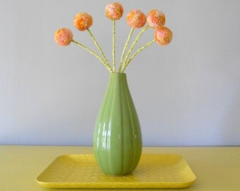 Craspedia, Billy Balls,Billy Buttons.  Woolly Heads,Dandelions.  Peach Pom Pom Flowers. Felt Flowers.  Apricot Wool.  Multi-colored flowers.