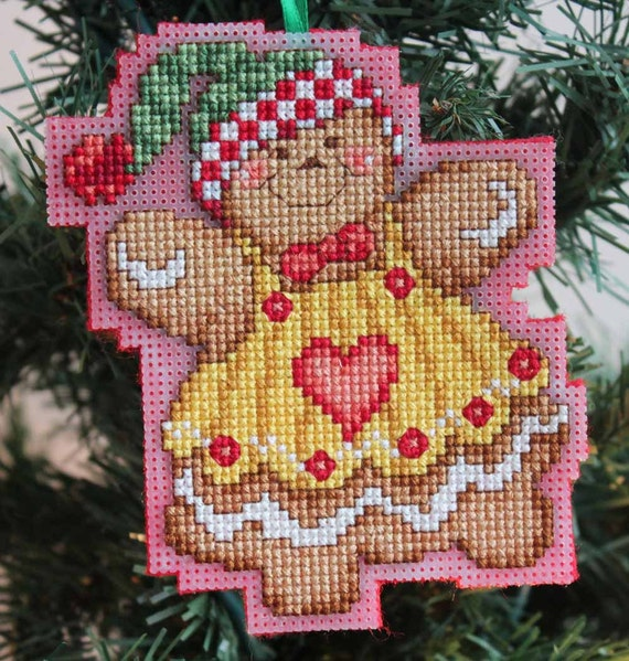 Cross Stitch Christmas Ornament - Gingerbread Girl