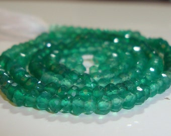14 Inch Strand, 3-3.5 mm, Shaded Green Onyx Micro Faceted Rondelle
