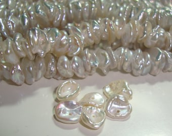 Fresh Water Keshi Pearls, 10 pcs, 6-8mm, Top Qaulity,  Very very Lustrous Genuine Keshi Tiny Cup Pearls - Natural Color