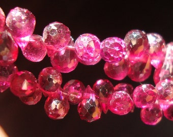 5-6x3mm, 1/2 Strand, Rhodolite Garnet Lovely Baby Micro Faceted Teardrop Briolettes,m11
