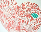SALE - Letterpress Valentine Love Card - Coral Heart - 50% off
