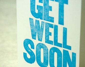 SALE - Get Well Soon Letterpress Card - Wood Type - 60% off