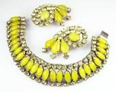 Vintage Bracelet Earrings Yellow Rhinestone Jewelry Set
