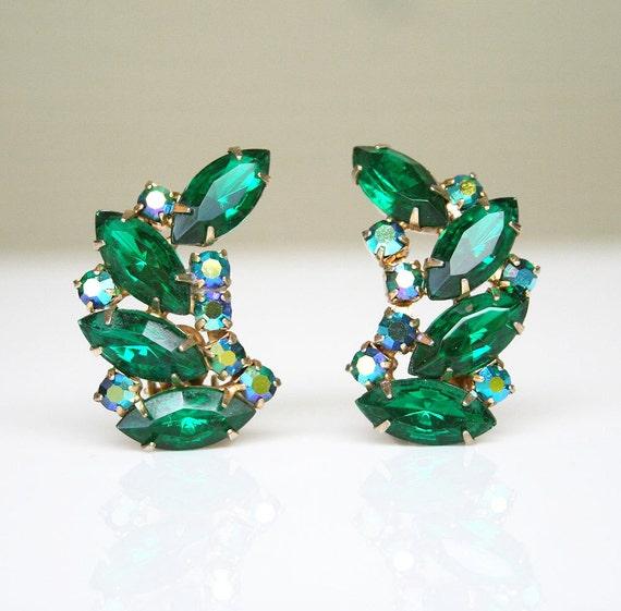 Vintage Earrings Green Blue Aurora Borealis Rhinestone Jewelry