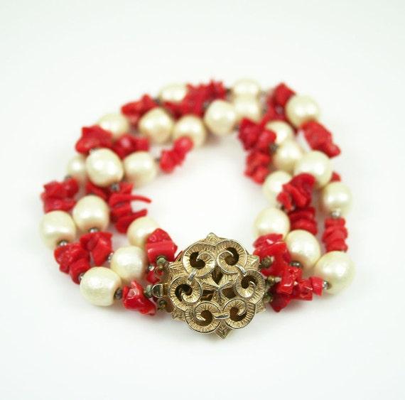 Vintage Coral Branch Faux Baroque Pearl Three Strand Bracelet