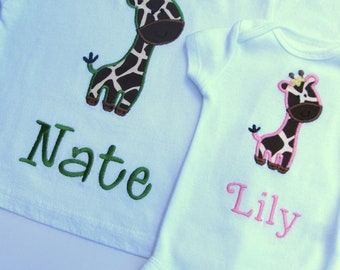 Personalized Brother Sister Shirts- Sibling Shirts- Giraffe Embroidered Shirts- Big Brother- Littler Sister