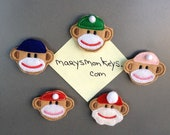Sock Monkey Magnets, Set of Five