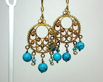 Blue & Gold Chandelier Earrings -- Teal and Gold Jewelry -- Teal Beaded Earrings -- Gold Filigree Hoops -- Bead Hoop Earrings