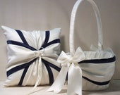 Ivory or White  Navy Blue Wedding Ring Bearer Pillow,  Flower Girl Basket 2 Piece Set