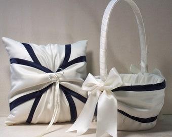 Ivory or White  Navy Blue Wedding Ring Bearer Pillow,  Flower Girl Basket 2 Piece Set