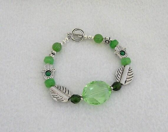 chunky boho bracelet green, quartz, aventurine, Chinese crystal, jade, hand charm, Tibetan silver toggle clasp