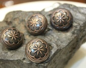 23.5mm Flower Patterned Antique Copper Vintage Finishing Domed Metal Buttons (x4 pcs)