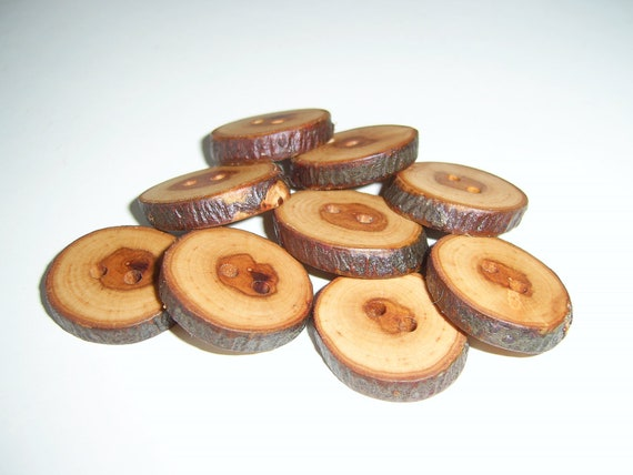 "9 Handmade apple wood Tree Branch Buttons with Bark, accessories (0,98"" diameter x 0,20"" thick)"