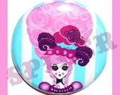 Marie Antoinette Cupcake Queen  Let them eat Cupcakes Pink  Hair 1 inch Button  Candy Striped Button